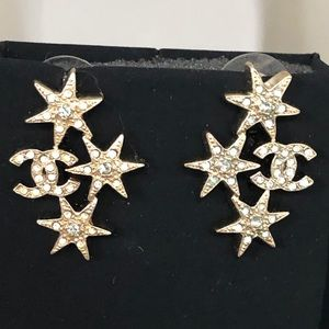 "Chanel NWT ""Le Petit Star"" Gold & Crystal Earrings"
